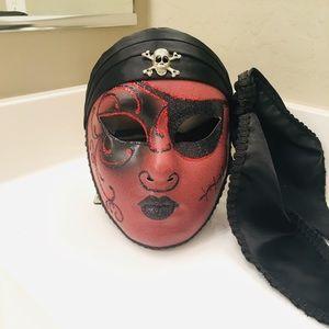 Red Pirate Italian Mask - La Maschera Del Galeone